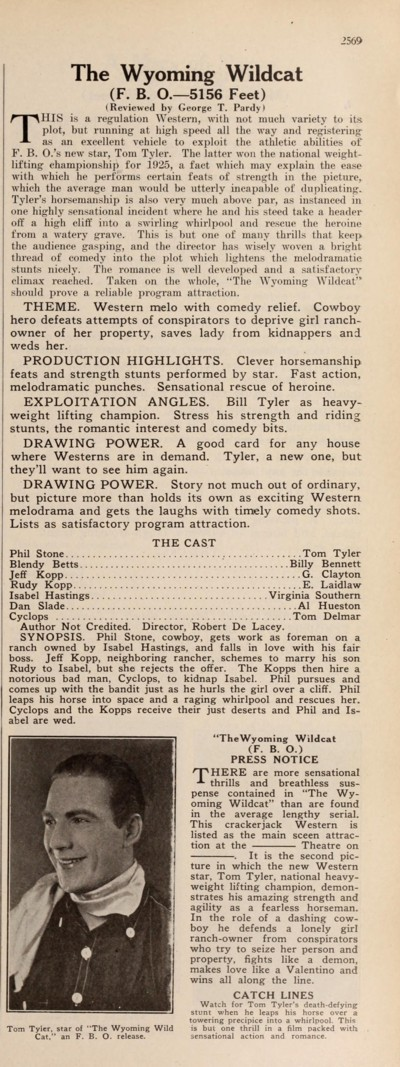 Press release and review from Motion Picture News Nov-Dec 1925
